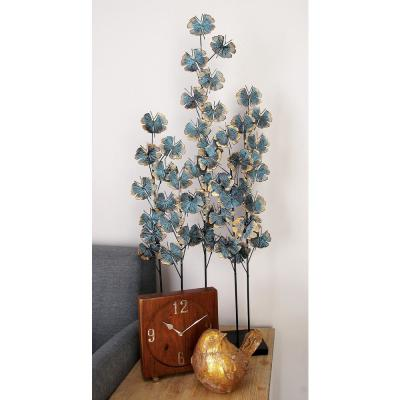 Iron Metal Turquoise Ginkgo Leaves on Straight Stems Sculpture
