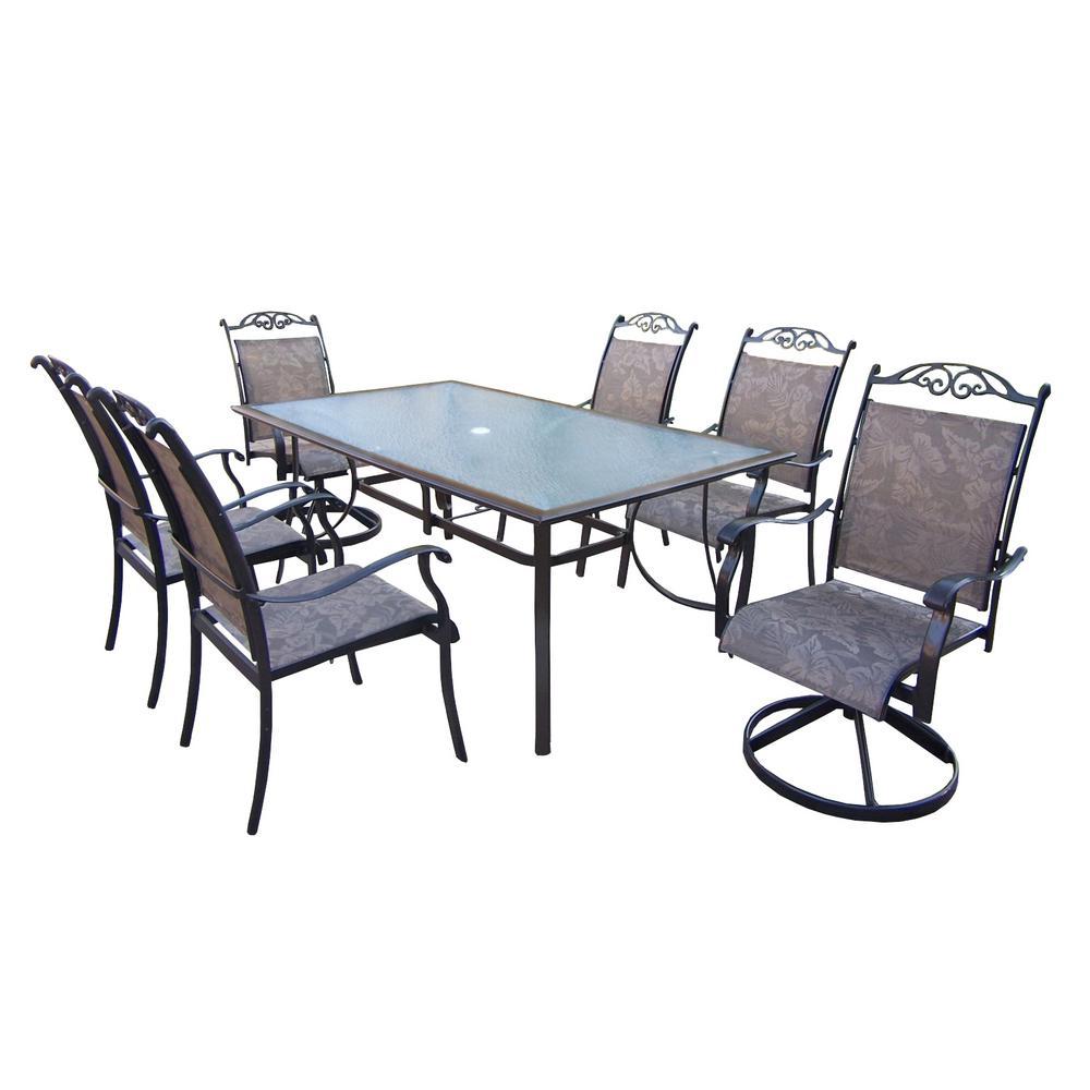 Cascade Coffee 7-Piece Aluminum Outdoor Dining Set