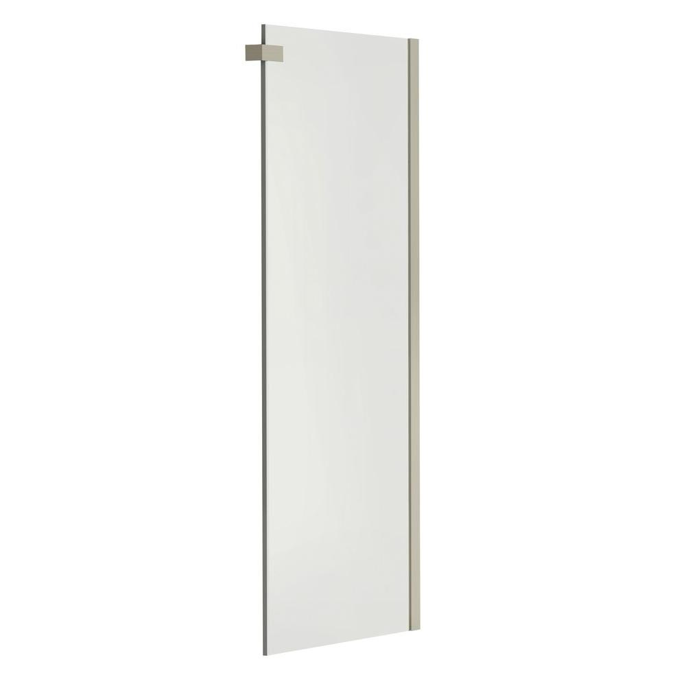 MAAX Halo 29-7/8 in. x 78-3/4 in. Semi-Frameless Fixed Clear Glass Side Panel Shower Door in Brushed Nickel without Handle