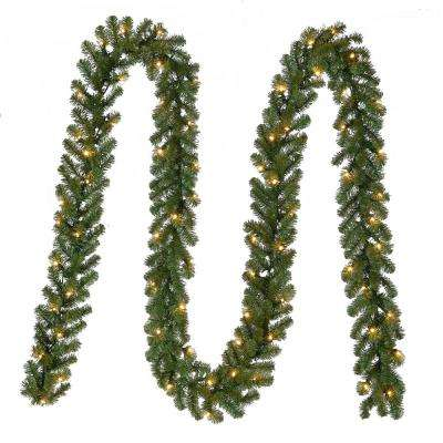 18 ft. Pre-Lit Artificial Kingston Christmas Garland with 70 Clear Lights