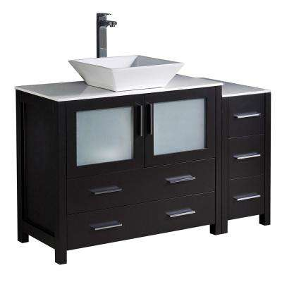 Torino 48 in. Bath Vanity in Espresso with Glass Stone Vanity Top in White with White Basin