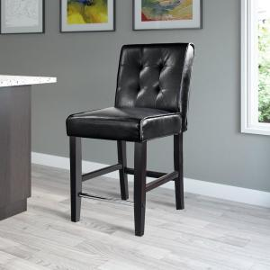 Antonio 25 in. Counter Height Black Bonded Leather Bar Stool