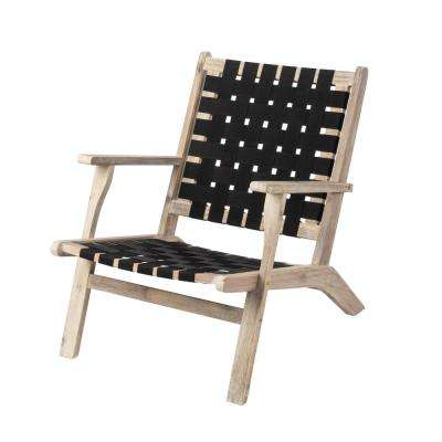 Vega Driftwood Stain Wood Outdoor Lounge Chair in Dark Nylon Weave