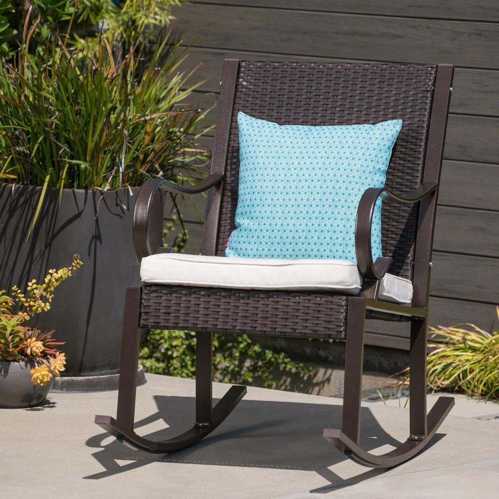 Hank Dark Brown Wicker Outdoor Rocking Chair with Cream Cushion