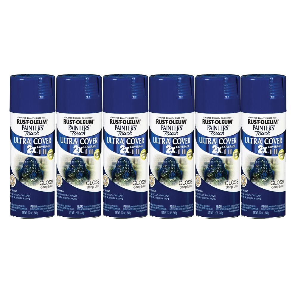Painter's Touch 12 oz. Gloss Deep Blue Spray Paint (6-Pack)-DISCONTINUED