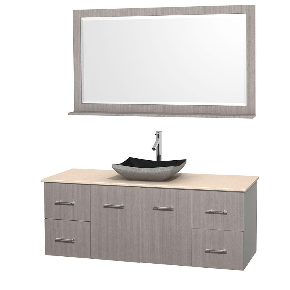 Wyndham Collection Centra 60 in. Vanity in Gray Oak with Marble Vanity Top in Ivory, Black Granite Sink and 58 in. Mirror