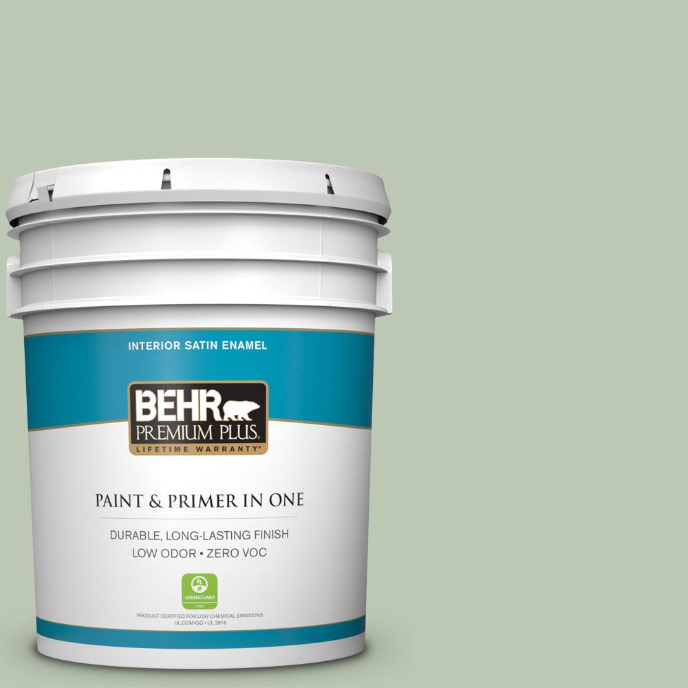 BEHR Premium Plus 5-gal. #440E-3 Topiary Tint Zero VOC Satin Enamel Interior Paint