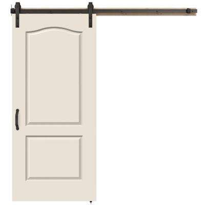 36 in. x 84 in. Princeton Primed Smooth Molded Composite MDF Barn Door with Rustic Hardware Kit
