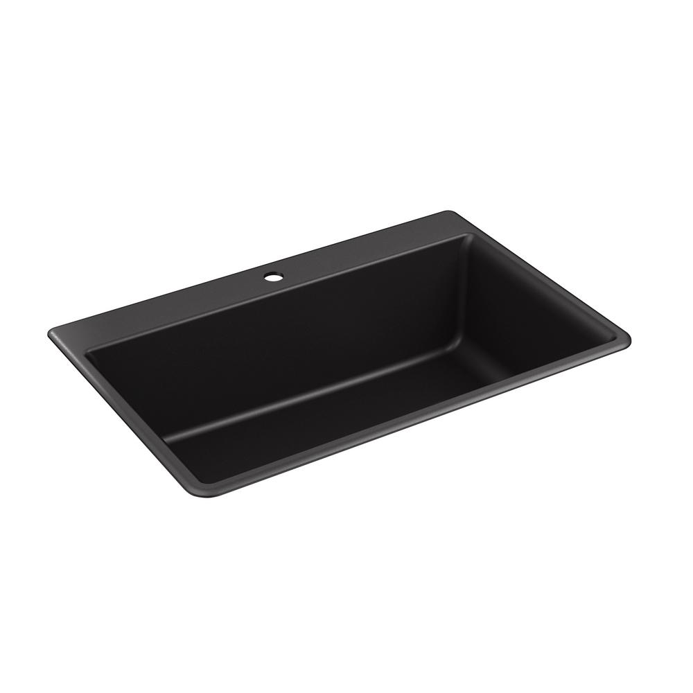 KOHLER Kennon Undermount Granite Composite 33 in. 1-Hole Single Bowl ...