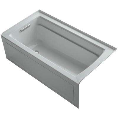 Archer 5 ft. Acrylic Left Hand Drain Farmhouse Rectangular Apron-Front Non-Whirlpool Bathtub in Ice Grey
