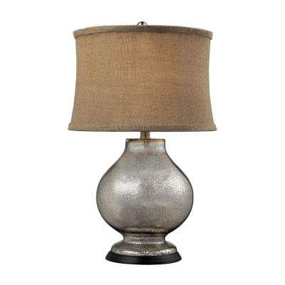 Stonebrook 25 in. Antique Mercury Glass Table Lamp with Burlap Shade