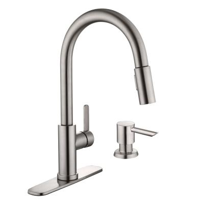 Paulina 1-Handle Pull-Down Sprayer Kitchen Faucet with TurboSpray and FastMount with Soap Dispenser in Stainless Steel