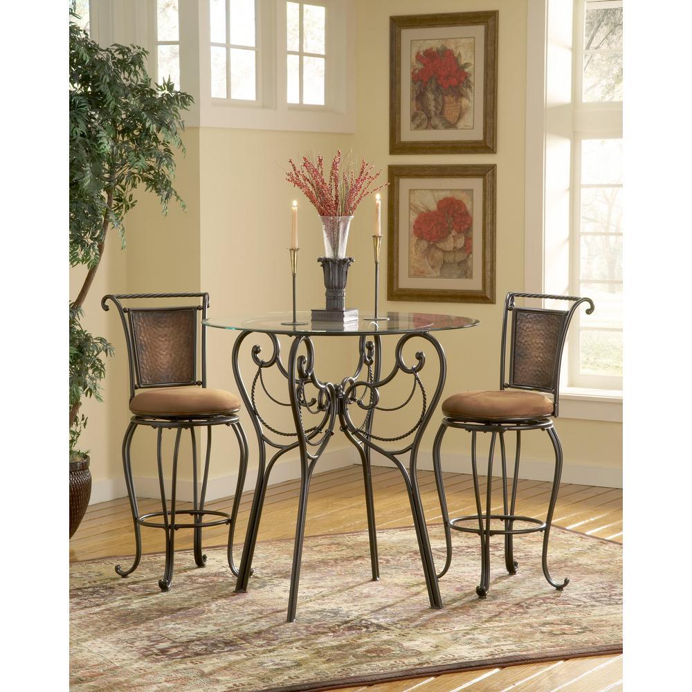 Hillsdale Furniture Milan 30 in. Black/Copper Swivel Cushioned Bar Stool