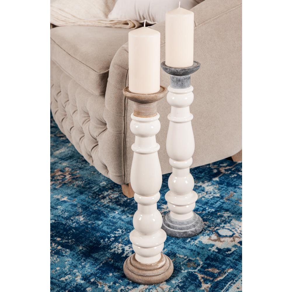 White Baluster-Style Ceramic Candle Holders with Taupe Accents (Set of 2)