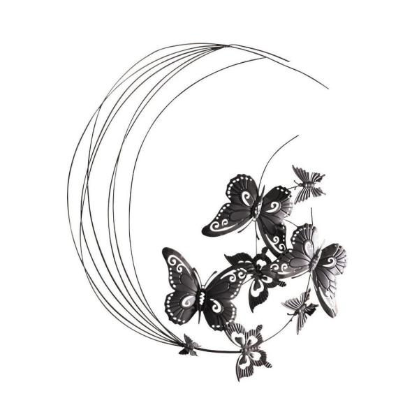 31 5 In X 27 6 In Metal Flying Butterfly With Swirls Wall Art Hd229088 P The Home Depot