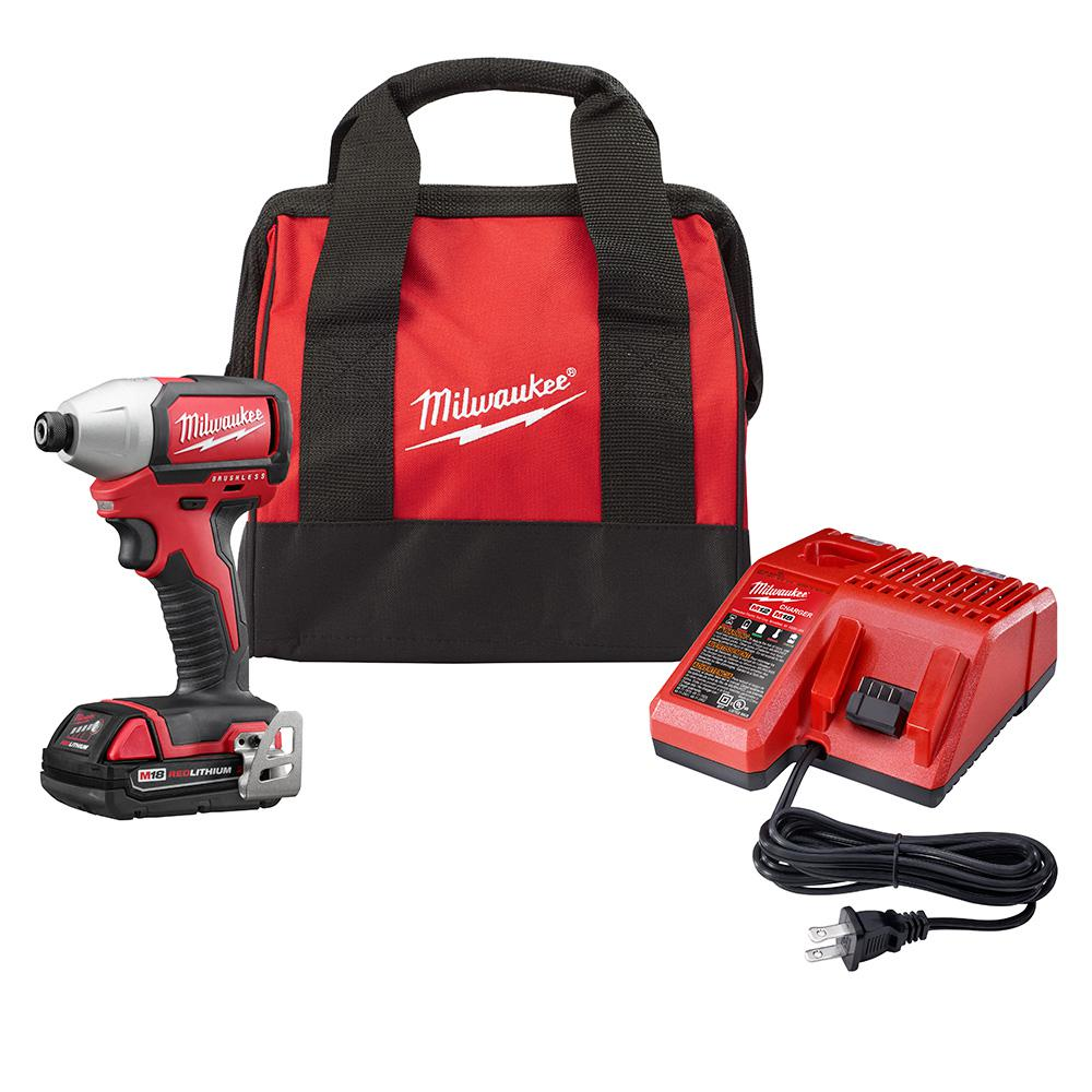 Milwaukee M18 18-Volt Lithium-Ion Brushless Cordless 1/4 in. Compact Impact Driver Kit W/ (1) 2.0Ah Battery, Charger & Tool Bag
