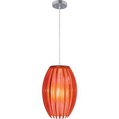 Red mini pendant lights lighting the home depot 1 light brushed nickel red acrylic flower bud outer shade hanging mini pendant white aloadofball Image collections