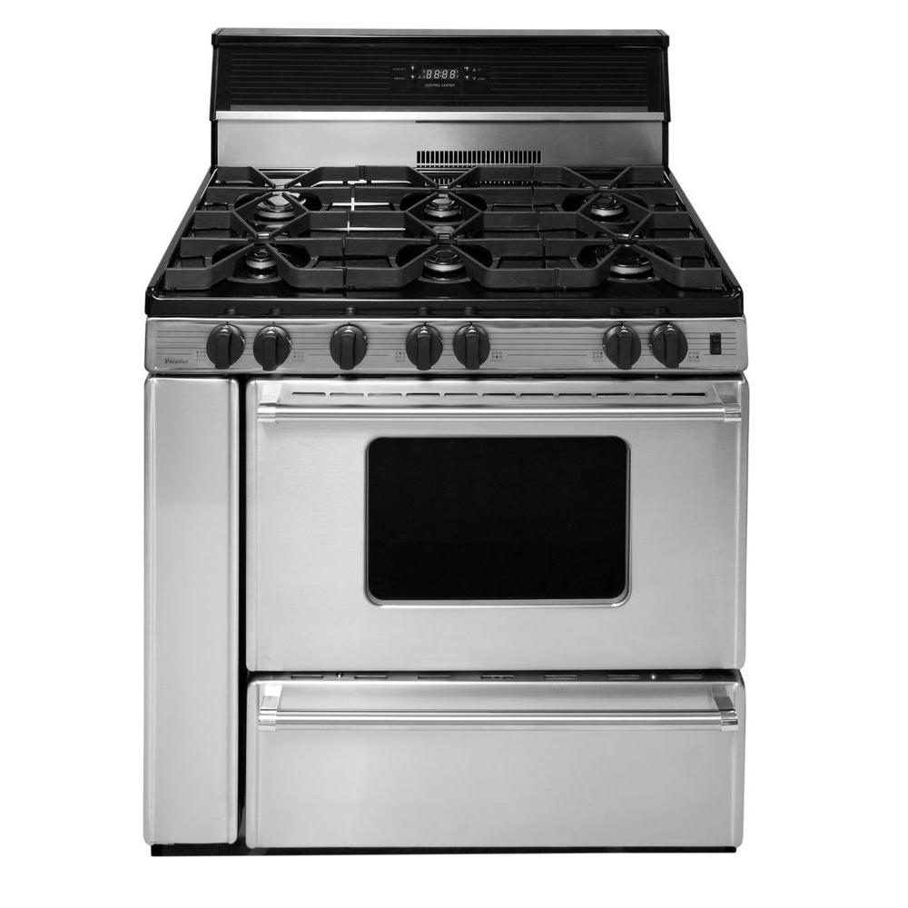 premier proseries 36 in cu ft gas range in stainless steel p36s3482ps the home depot. Black Bedroom Furniture Sets. Home Design Ideas