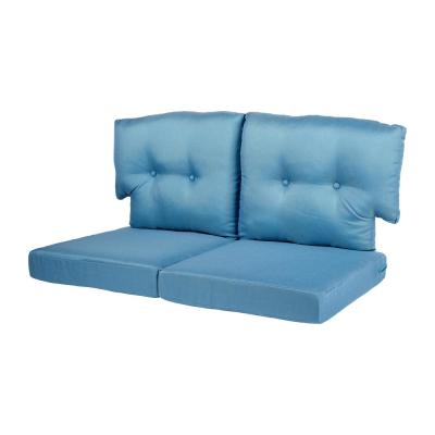 Charlottetown 23.5 in. x 26.5 in. 4-Piece Outdoor Loveseat Cushion Set in Washed Blue