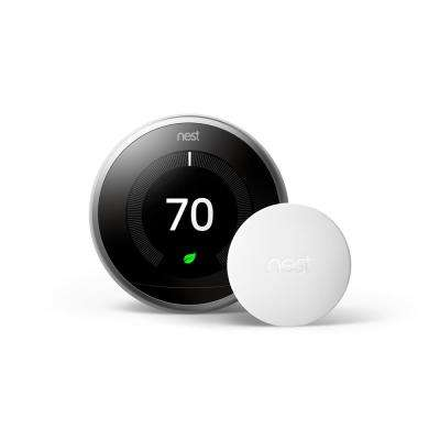 3rd Generation Smart Learning Wi-Fi Thermostat Stainless Steel with Temperature Sensor (2-Pack)