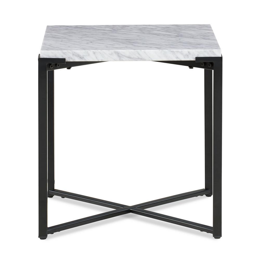 Saxon Natural Carrara Marble Metal Base End Table