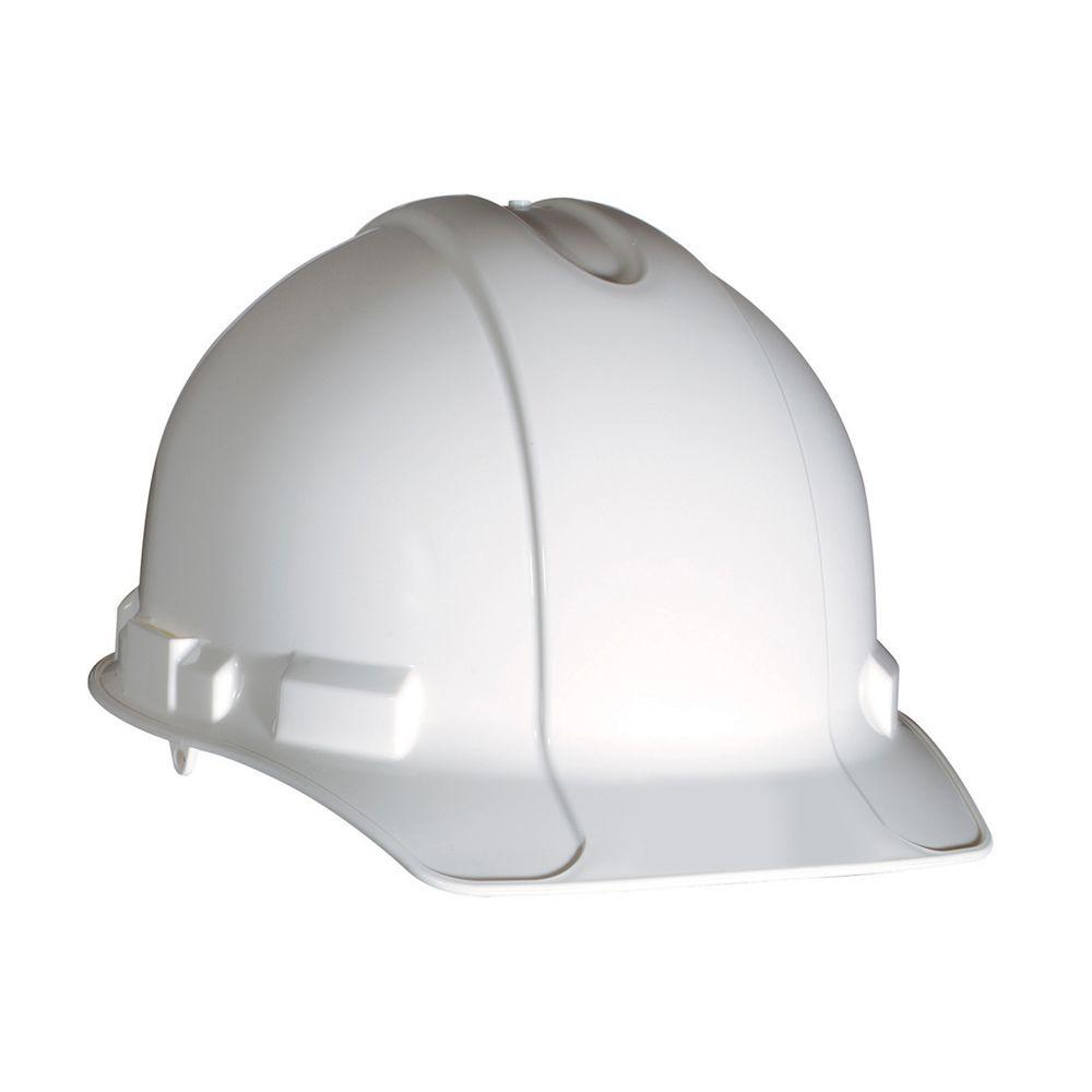 1e9117ce973 3M White Non-Vented Hard Hat with Ratchet Adjustment-CHH-R-W6 - The Home  Depot