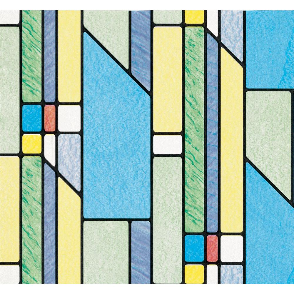 D-C-Fix Busko 17 in. x 78 in. Home Decor Self Adhesive Window Film (2-Pack) Busko is a multi-color multi pattern self-adhesive stained glass window film. D-C-Fix self-adhesive window films are designed to provide privacy and decoration. Our collection of plain frosted, floral, leaf and stained glass designs help provide privacy in areas which may be overlooked, but still allow in the light. In areas where a traditional window dressing can't be used such as small or odd shaped windows, D-C-Fix self-adhesive window films offer a practical solution. A great alternative to blinds or curtains, D-C-Fix window films provide a clean, modern look to any home or work environment. To achieve a custom made look for your windows, cut shapes from the film and make your own window stickers. D-C-Fix window films are quick and easy to apply and can be used on any clean flat window or glass surface.