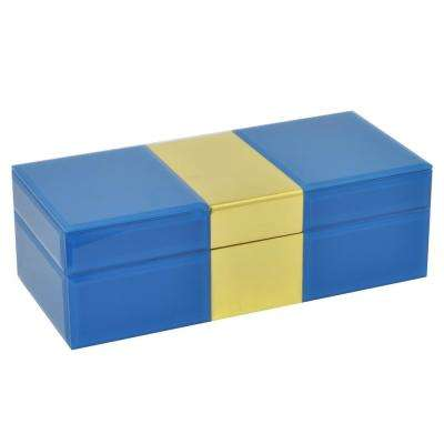 3.5 in. Box Turquoise/Gold in Blue