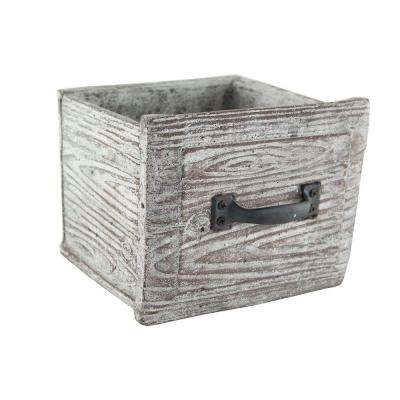 7 in. x 7 in. x 6-1/2 in. Cement Vintage Drawer