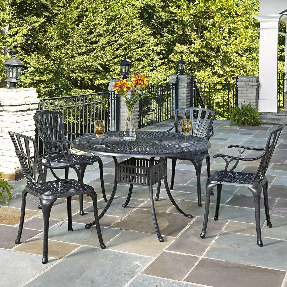 Home Styles Largo 48 in. Cast Aluminum Charcoal Outdoor 5-Piece Patio Dining Set-5560-328 - The ...