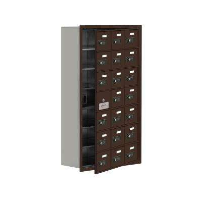 19100 Series 22.75 in. W x 40.75 in. H x 8.75 in. D 20 Doors Cell Phone Locker Recess Mount Resettable Lock in Bronze