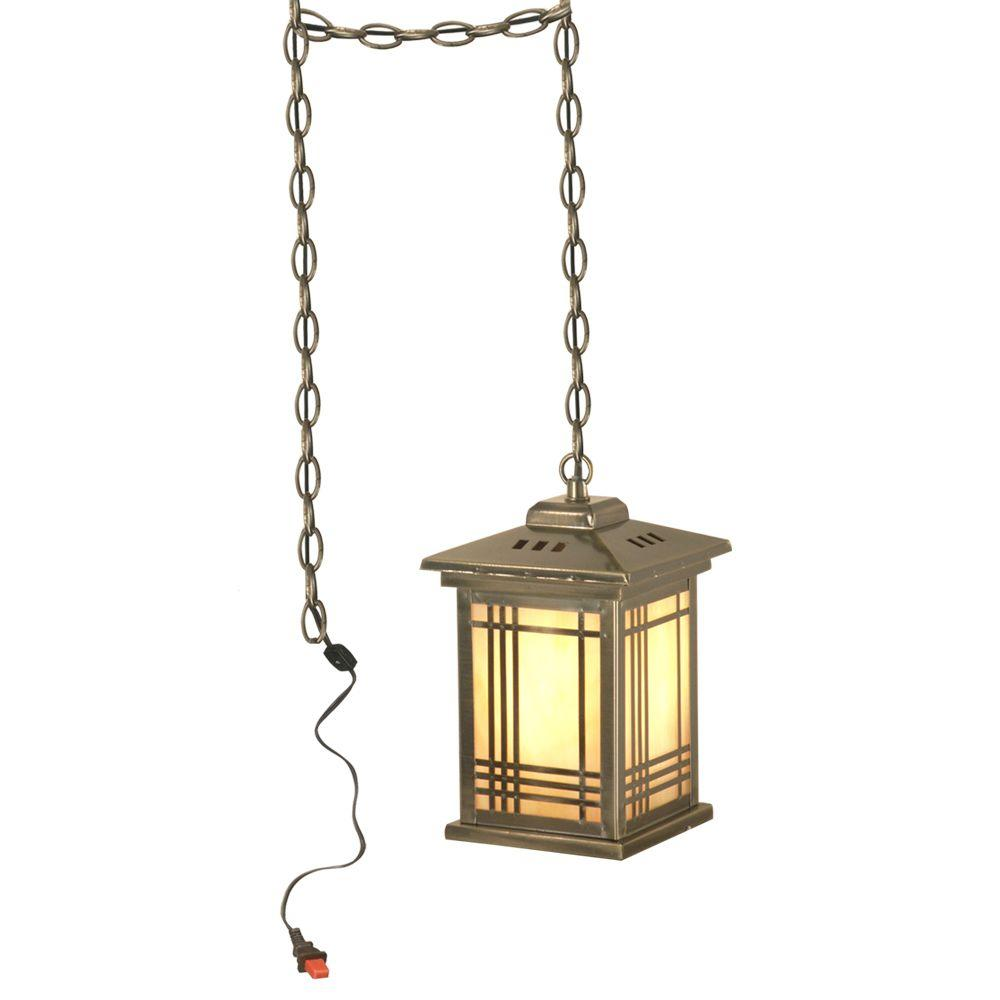 Dale Tiffany Tiffany Avery Lantern with Swag 1-Light Hanging Antique Brass Mini-Pendant Lamp-DISCONTINUED