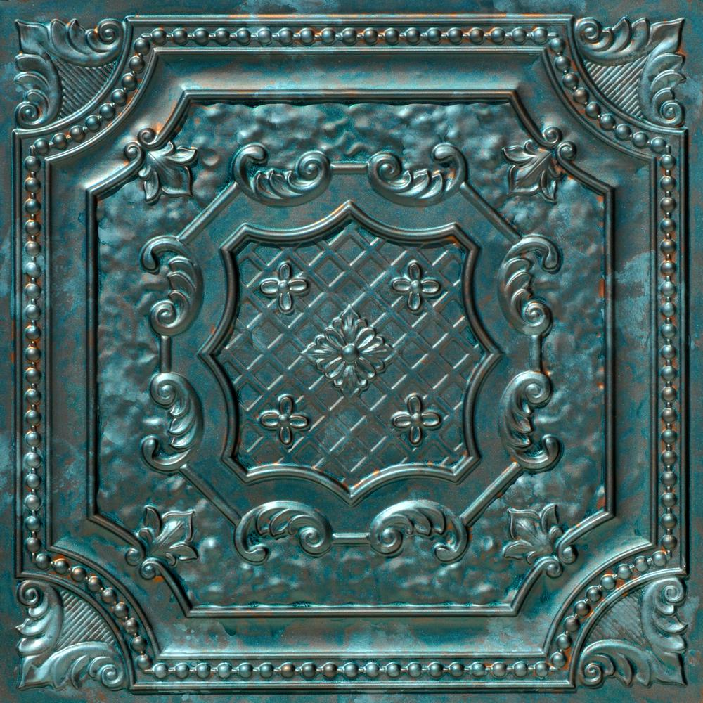 From Plain To Beautiful In Hours Elizabethan Shield 2 ft. x 2 ft. PVC Glue-up or Lay-in Ceiling Tile in Patina