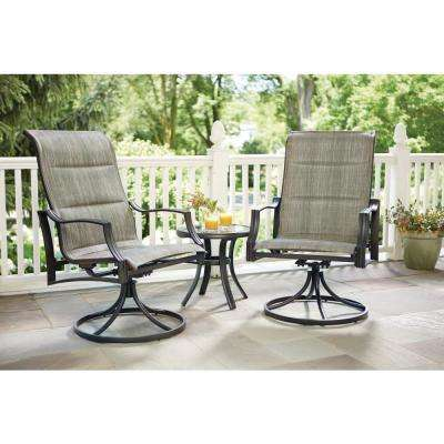 Statesville Pewter 3-Piece Steel Padded Sling Outdoor Chat Set