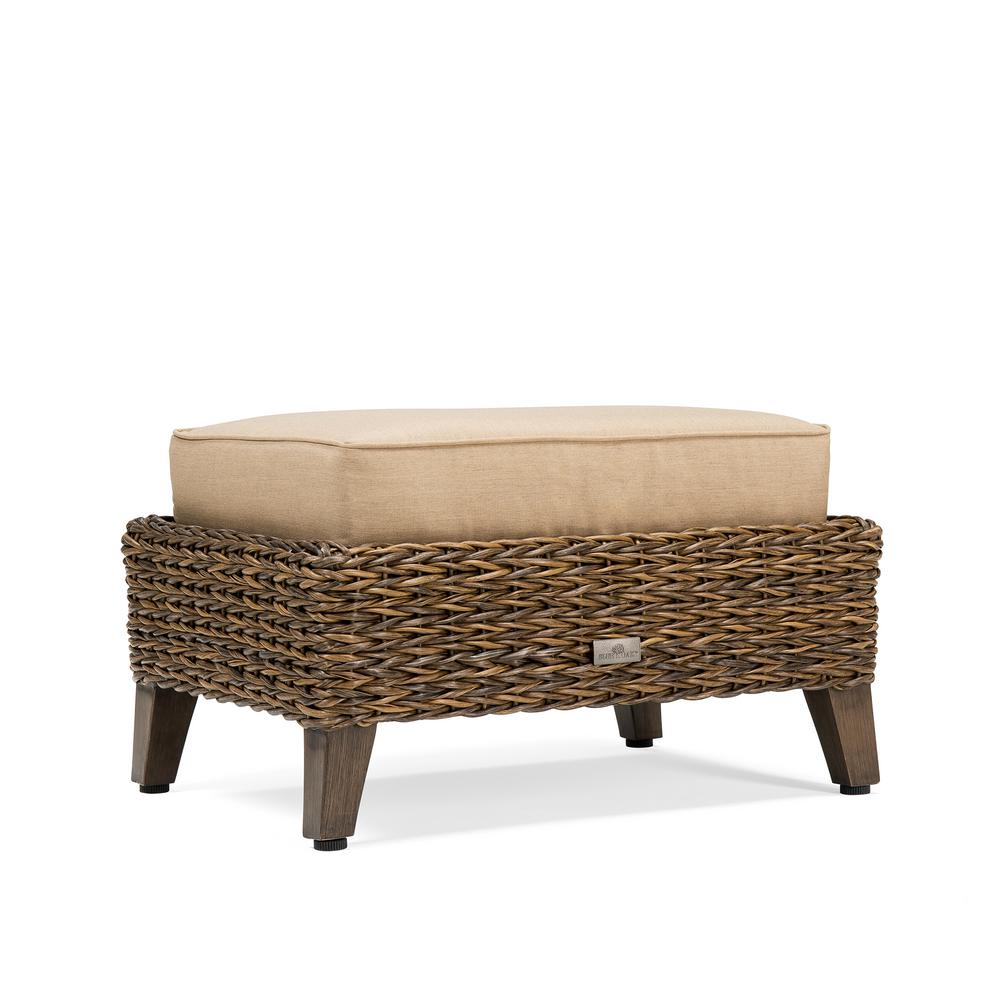 Bahamas Wicker Outdoor Ottoman with Sunbrella Canvas Heather Beige Cushion