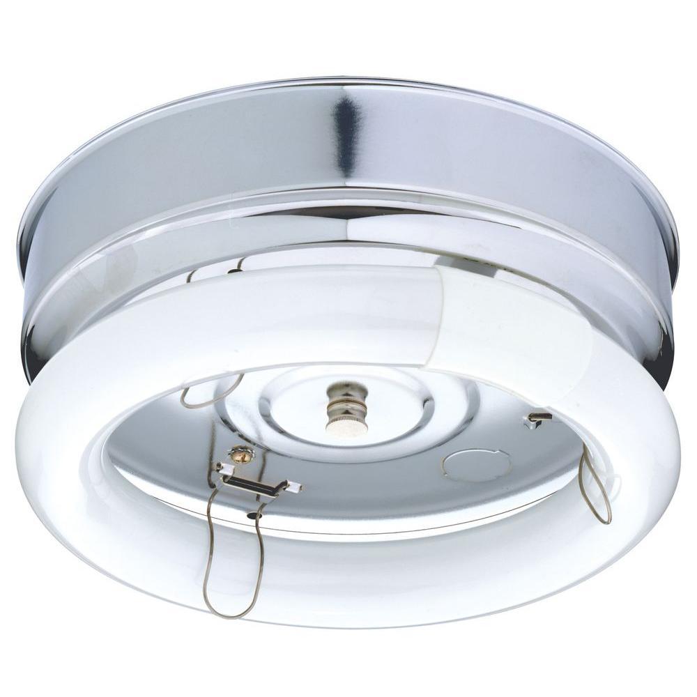 1-Light Chrome Fluorescent Bare Lamp Ceiling Flushmount