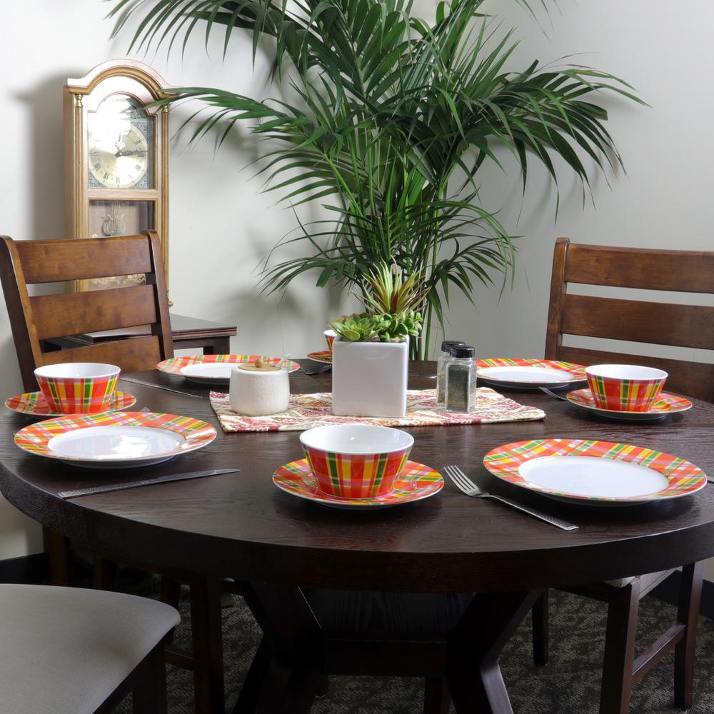 Multi Plaid 16-Piece Dinnerware Set