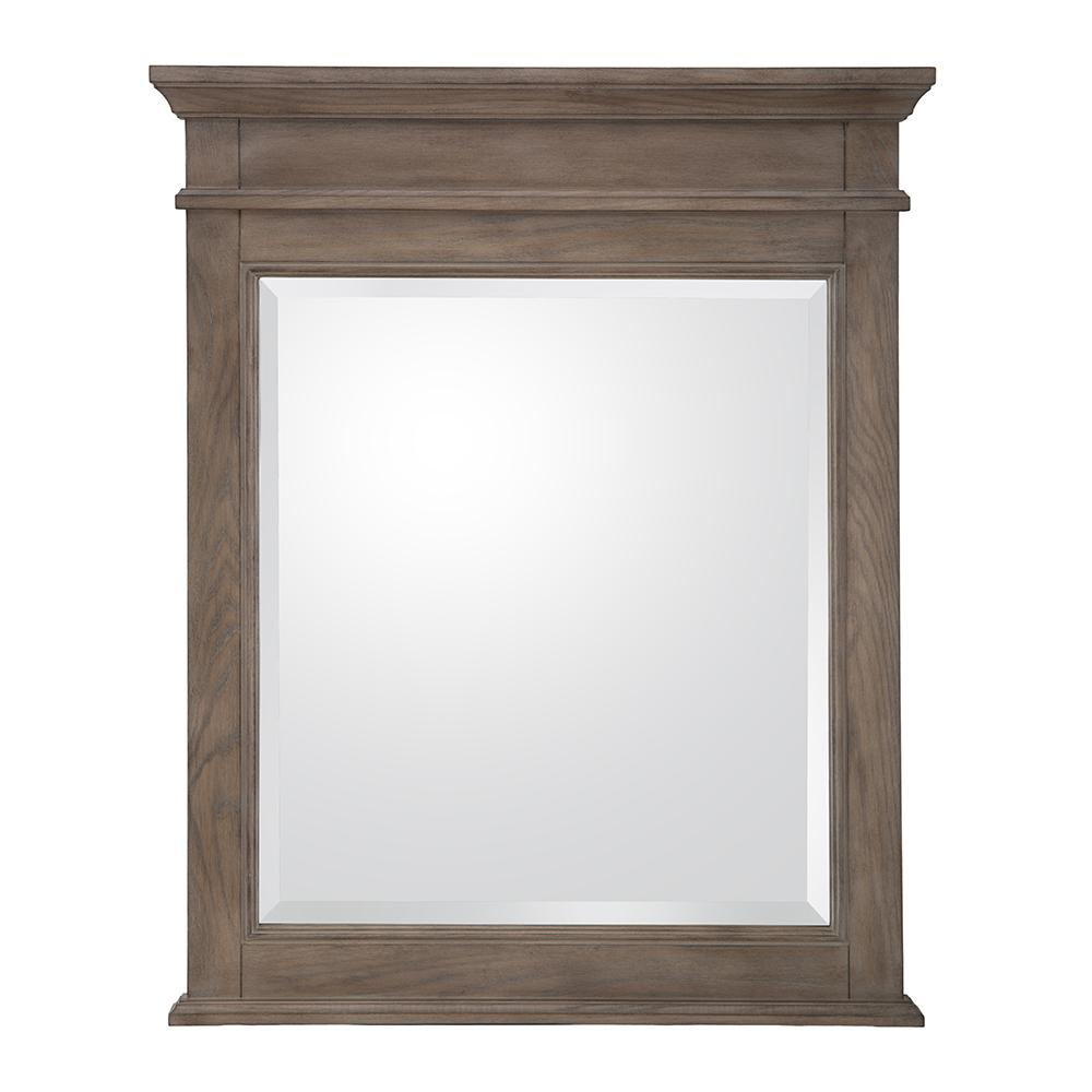 Home Decorators Collection Schofield 26 In W X 32 In H Framed Wall Mirror In Antique Ash