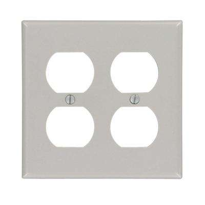 2-Gang Standard Size Plastic Wall Plate and 2-Duplex Receptacles in Gray