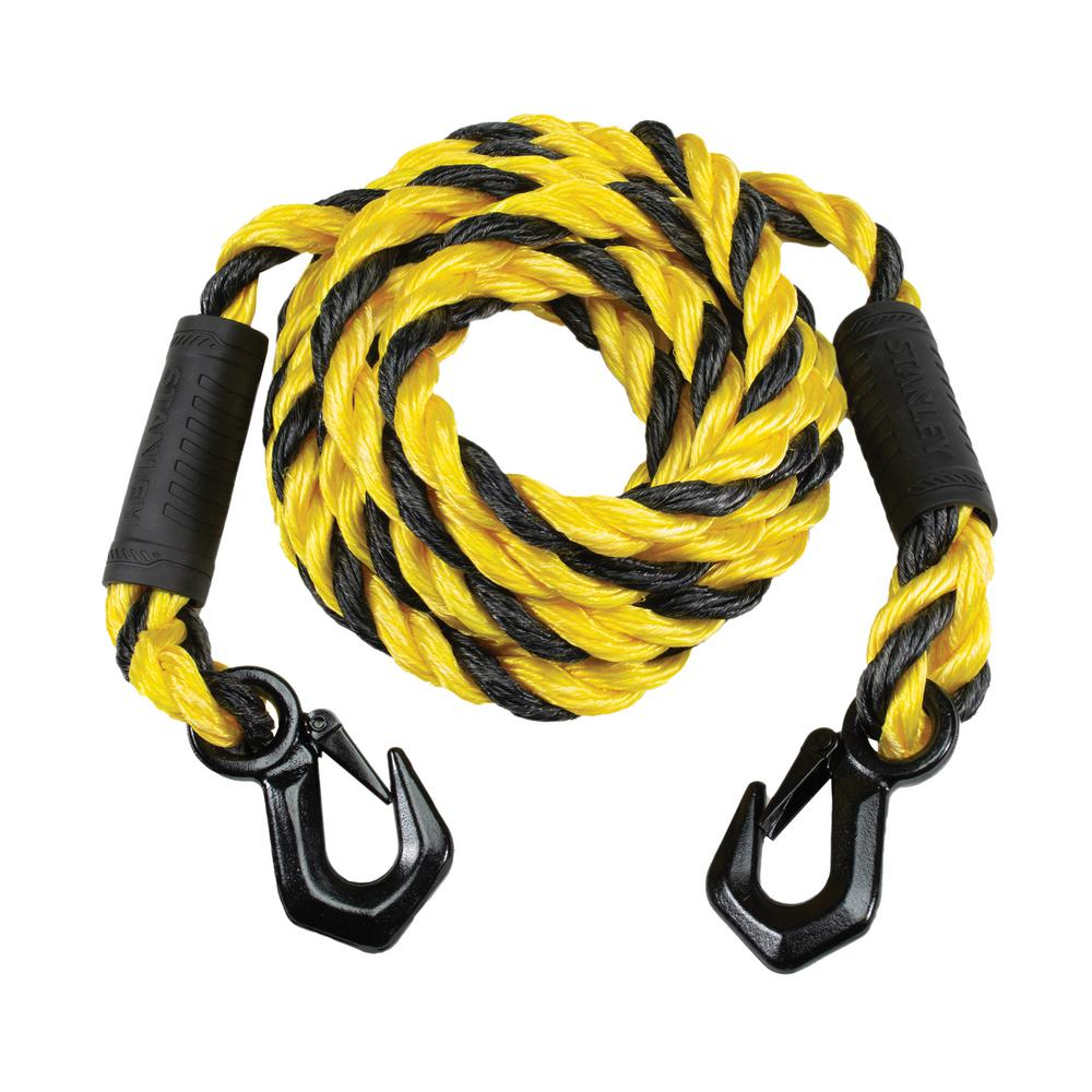 7,200 lbs Break Strength Stanley S1052 Black//Yellow 5//8 x 15 Poly-Blend Braided Tow Rope with Heavy Duty Tri-Hook