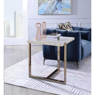 Feit Faux Marble and Champagne End Table