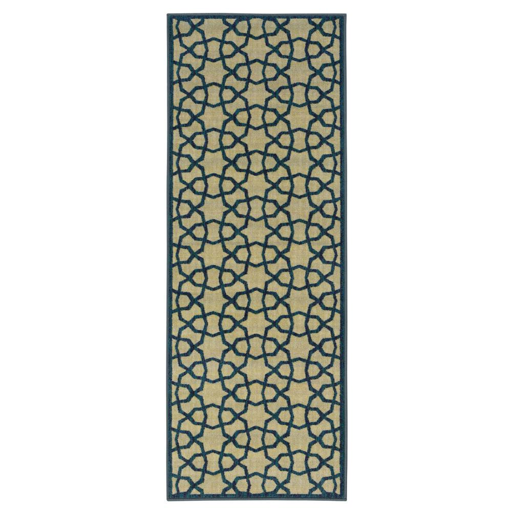 Ottomanson Authentic Collection Contemporary Geometric Trellis Design Green 2 ft. x 5 ft. Runner Rug