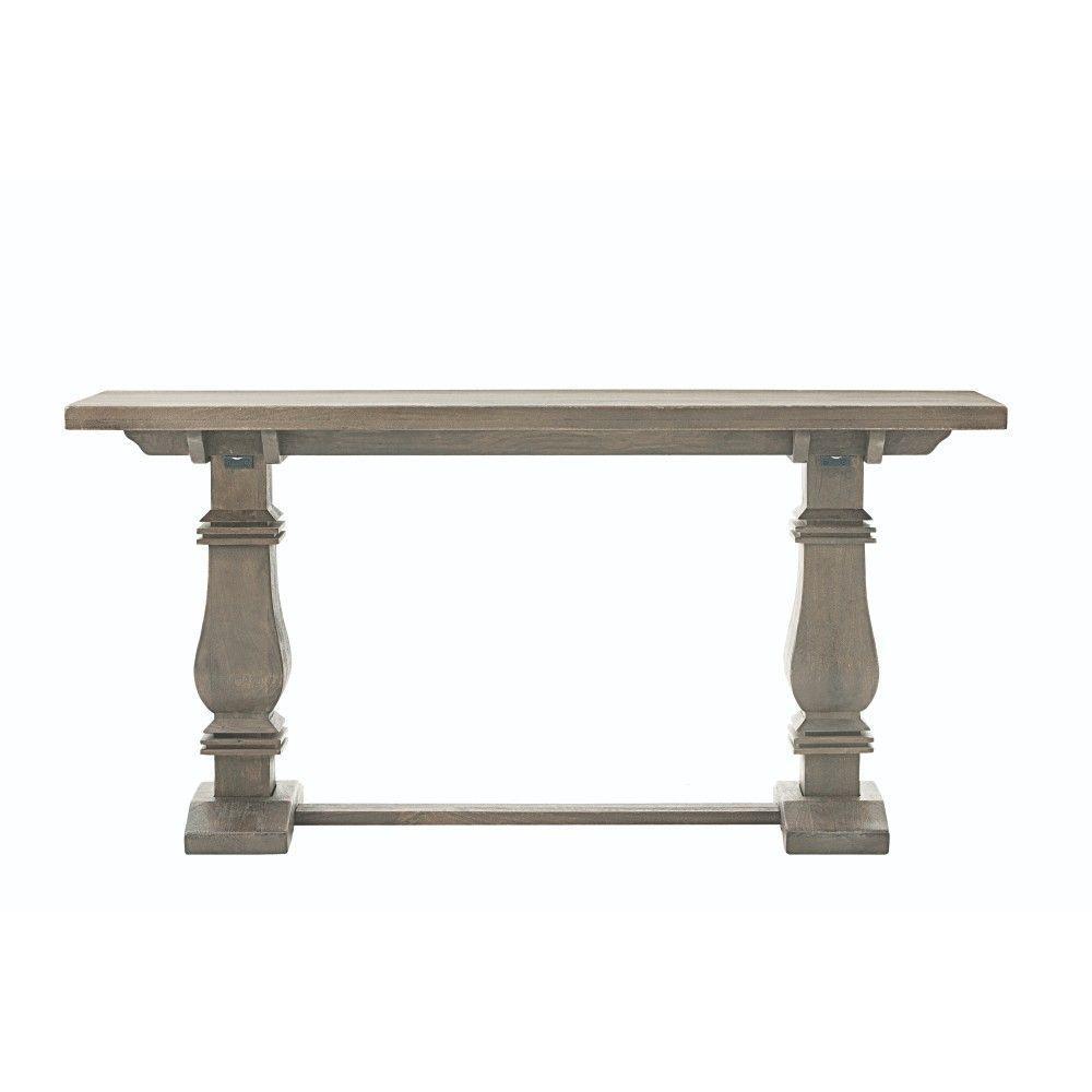 Home decorators collection aldridge antique grey console for Sofa table grey