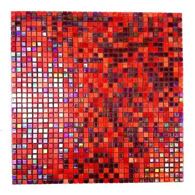 Galaxy Nebula Red and Purple Square Mosaic 0.3125 in. x 0.3125 in. Iridescent Glass Wall Tile (0.98 Sq. ft.)