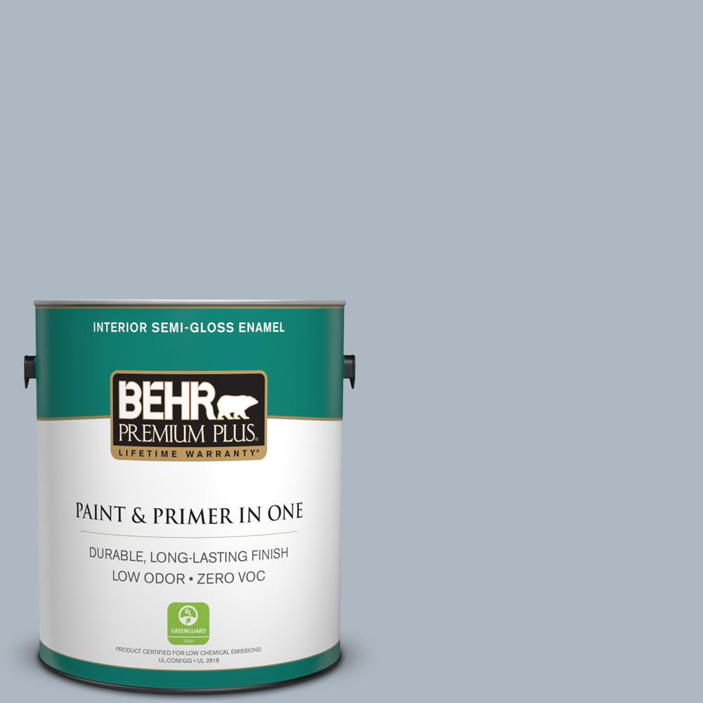 BEHR Premium Plus 1-gal. #ICC-45 Calming Space Zero VOC Semi-Gloss Enamel Interior Paint