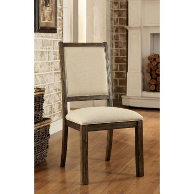 COLETTE Rustic Oak and Beigedustrial Style Side Chair