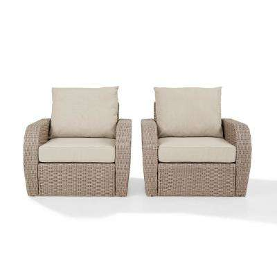 St Augustine 2-Piece Wicker Patio Outdoor Seating Set with Oatmeal Cushion - 2 Wicker Outdoor Chairs