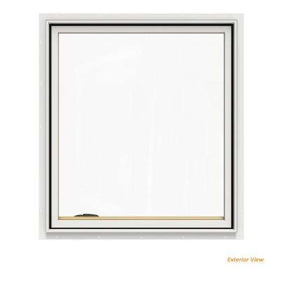 36.75 in. x 40.75 in. W-2500 Series White Painted Clad Wood Left-Handed Casement Window with BetterVue Mesh Screen