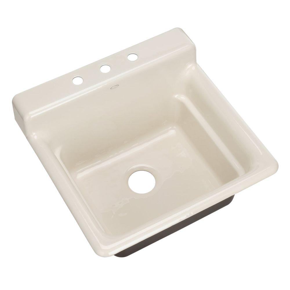 KOHLER Bayview Self-Rimming Cast Iron 25.5 in. 3-Hole Utility Sink in Almond