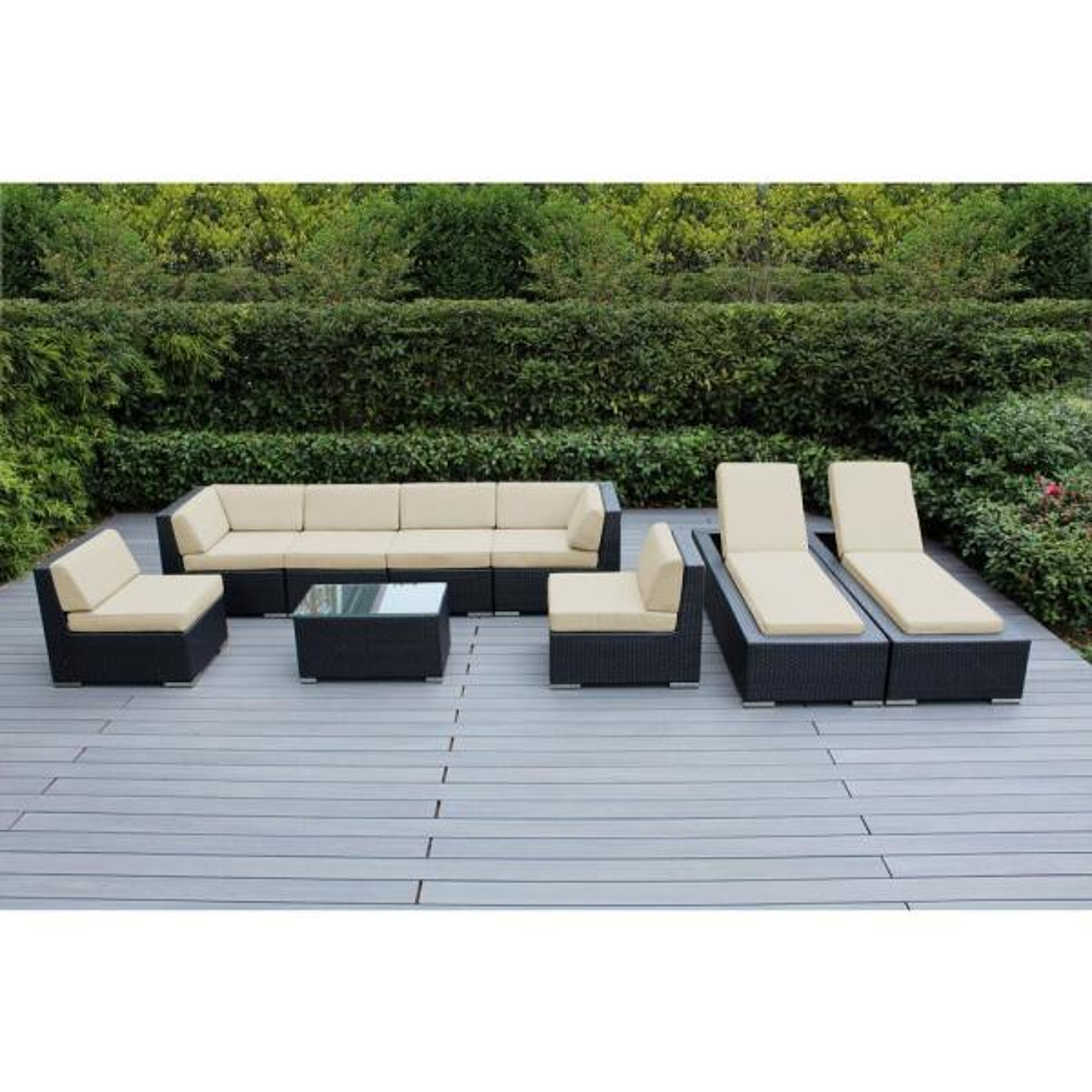 Black 9-Piece Wicker Patio Combo Conversation Set with Sunbrella Antique Beige Cushions